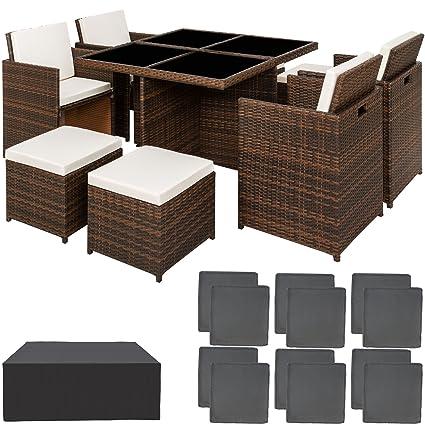 Mobili Per Giardino In Rattan.Tectake Set Di Mobili Da Giardino Poli Rattan Alluminio Arredamento Set 4 Sedie Tavolo 4 Sgabelli Involucro Protettivo Viti In Acciaio Inox