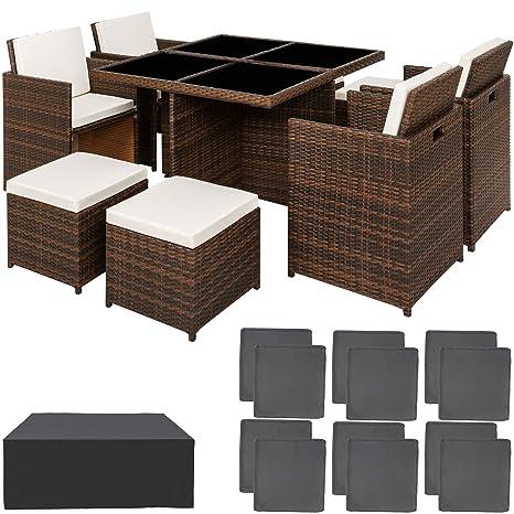 TecTake Conjunto muebles de jardín en aluminio y ratán sintético comedor juego 4+4+1 + funda completa + set de fundas intercambiables | tornillos de ...