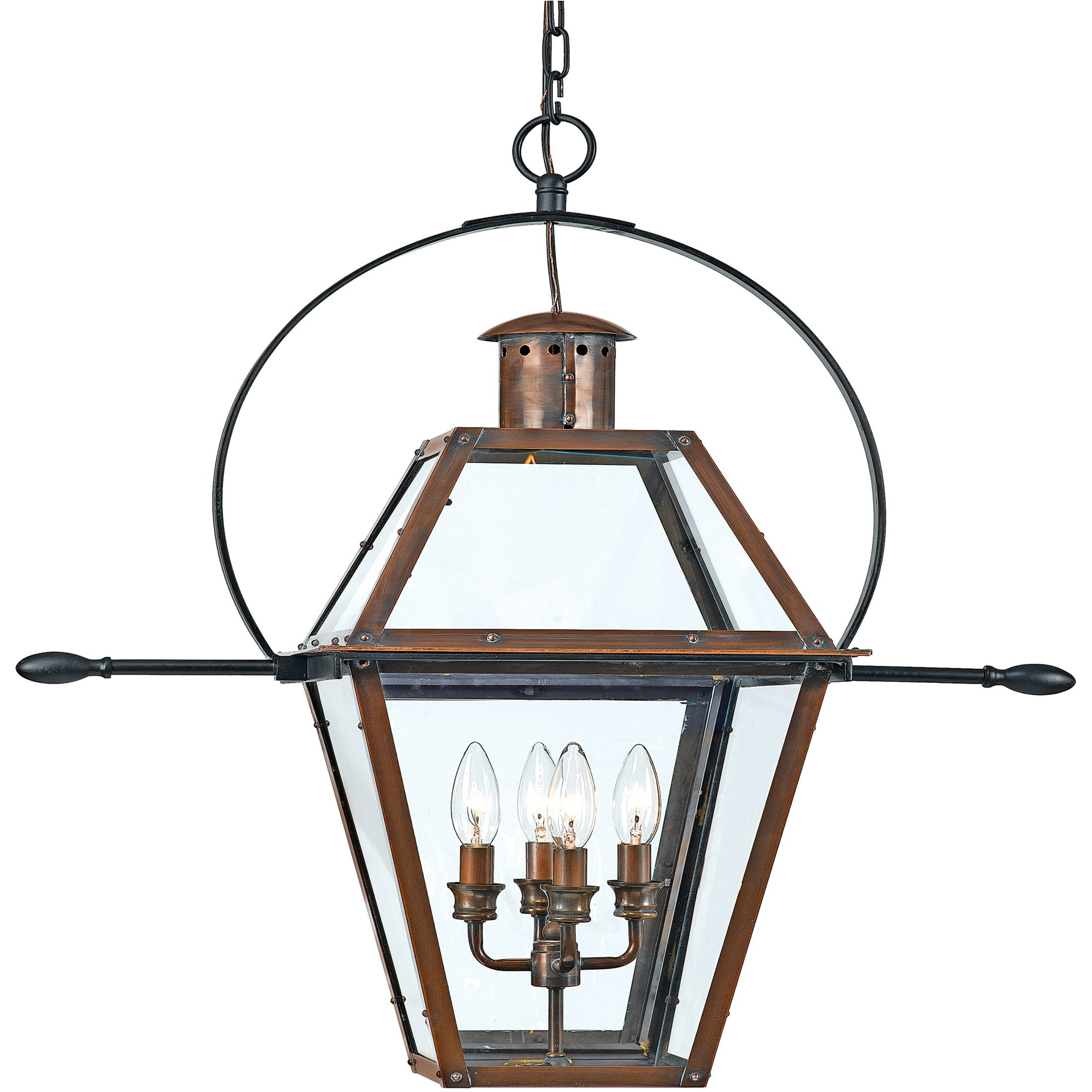 Quoizel RO1914AC 4-Light Rue De Royal Outdoor Lantern in Aged Copper