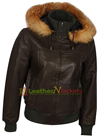 318a8544f The Jacket Makers Women Hooded Leather Bomber Jacket with Fur Collar. (Free  Surprise Gift On Each Buy