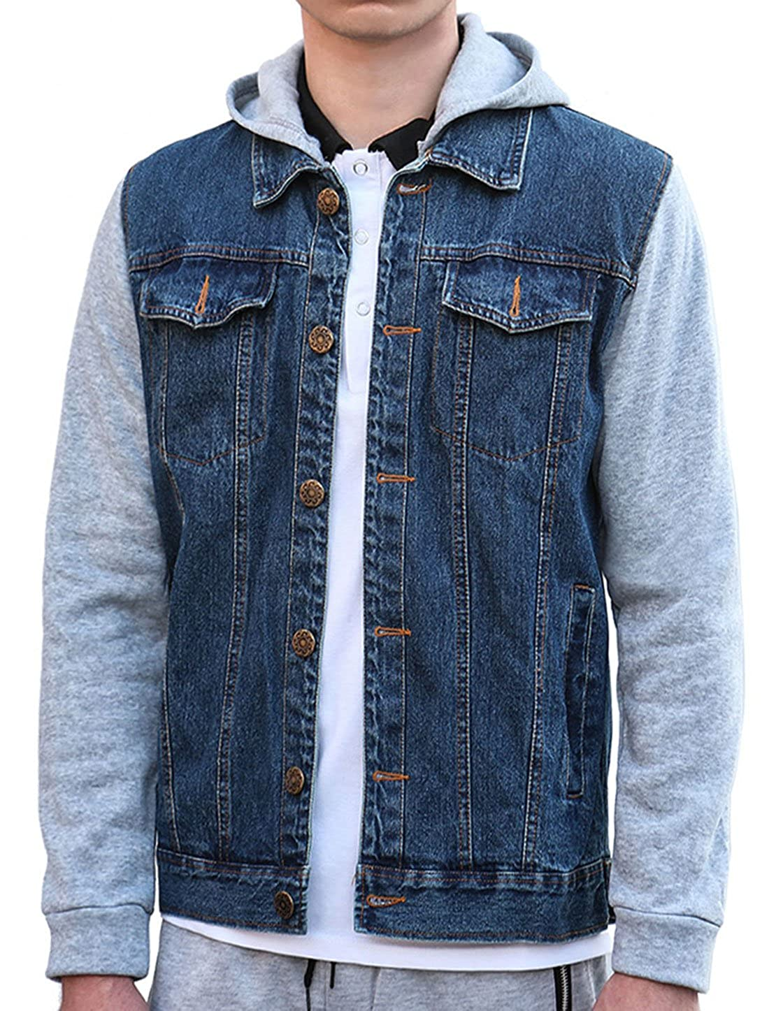uxcell Men Removable Hood Single Breasted Long Sleeves Denim Hoodies Jacket