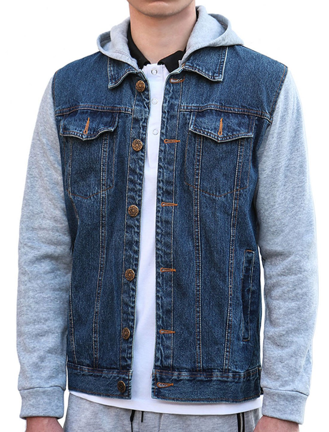 Allegra K Men Single Breasted Paneled Long Sleeves Denim Jacket w Removable Hood S Blue by uxcell