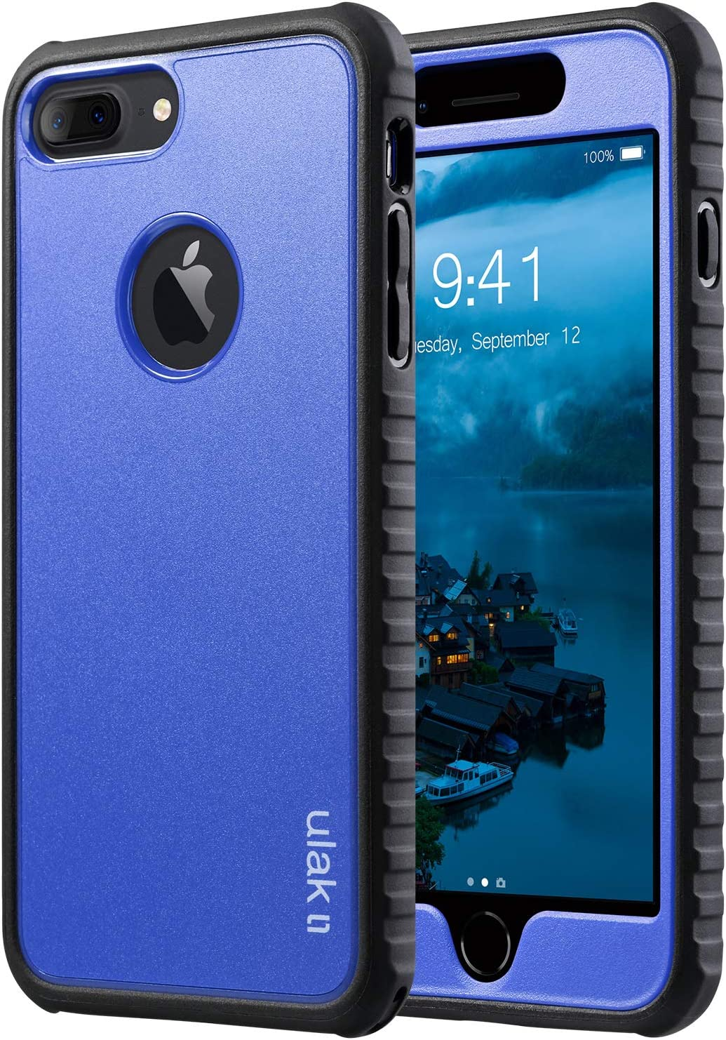 ULAK iPhone 7 Plus Case, Slim Lightweight Flexible TPU Bumper Case Shockproof Anti-Slip Front and Back Protection Durable Rugged Cover for Apple iPhone 7 Plus 5.5 inch, Navy Blue