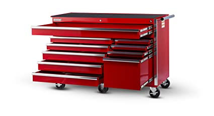 International VRB 5610RD 56 Inch 10 Drawer Red Tool Cabinet With Heavy Duty  Ball