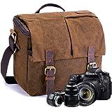 FOLUR Waterproof Vintage DSLR SLR Camera Messenger Bag Leather Satchel  Canvas Shoulder… c585dc029907b