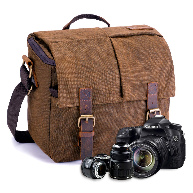 57aeef5b4b FOLUR Waterproof Vintage DSLR SLR Camera Messenger Bag  Amazon.co.uk  Camera    Photo