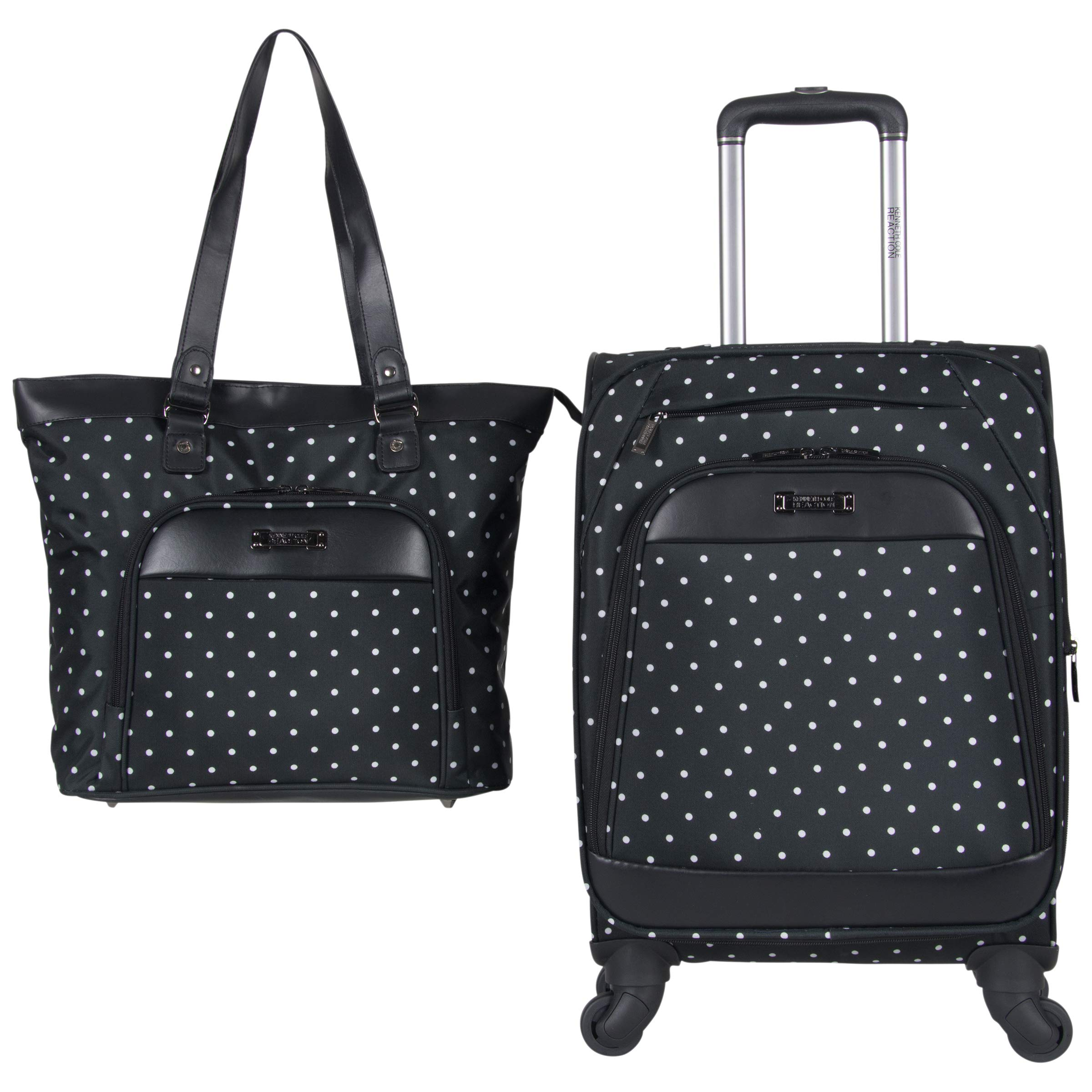 Kenneth Cole Reaction Dot Matrix 600d Polyester 2-Piece Luggage Set; Laptop Tote, 20'' Carry-on, Black W/White Polka Dots