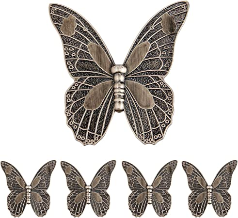 5pcs Vintage Butterfly Cupboard Door Knobs Cabinet Handles