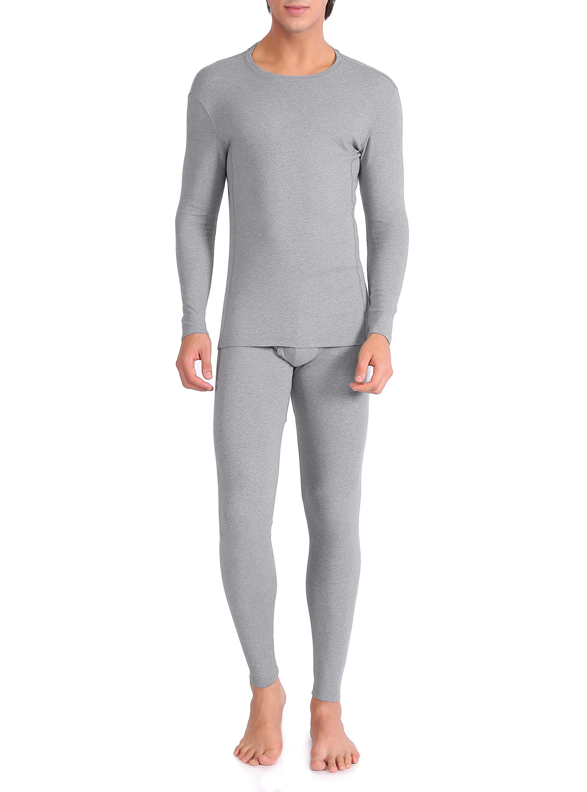 David Archy Men's Ultra Soft Warm Stretchy Cotton Fleece Lined Base Layer Top & Bottom Thermal Set Long John with Fly