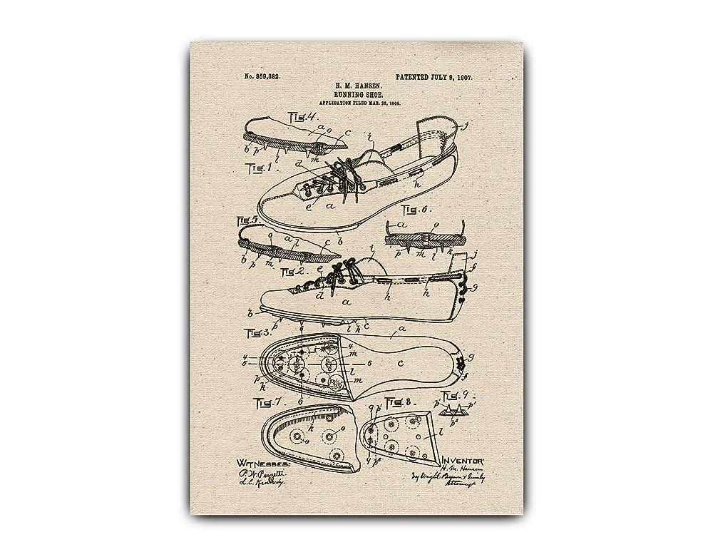 1978 Running Shoe Patent Illustration Canvas Totebag