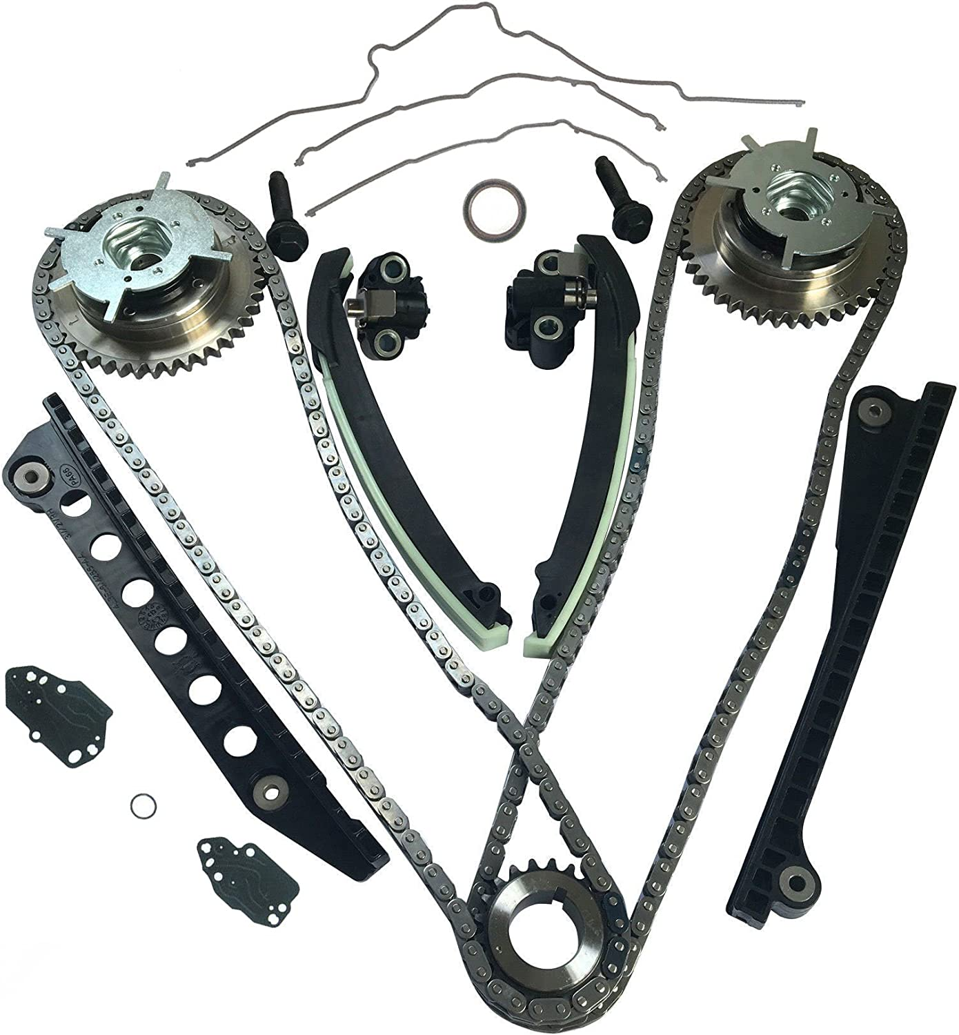 Timing Chain Kit with Tensioner Guides Cover Gaskets Cam Phaser Engine Variable Camshaft Timing Cam Phaser VCT VVTi Actuator Timing Sprocket Bolt Gaskets For Ford TRITON 3-Valve F150 F250 Expedition