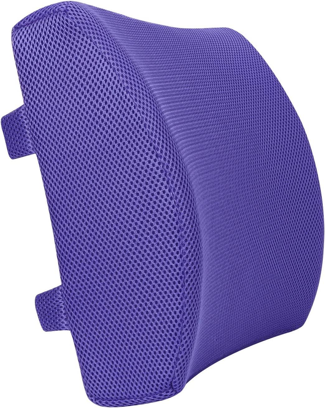 LoveHome Memory Foam Lumbar Support Back Cushion With 3D Mesh Cover Balanced Firmness Designed for Lower Back Pain Relief- Ideal Back Pillow for Computer/Office Chair, Car Seat, Recliner etc. (Violet)