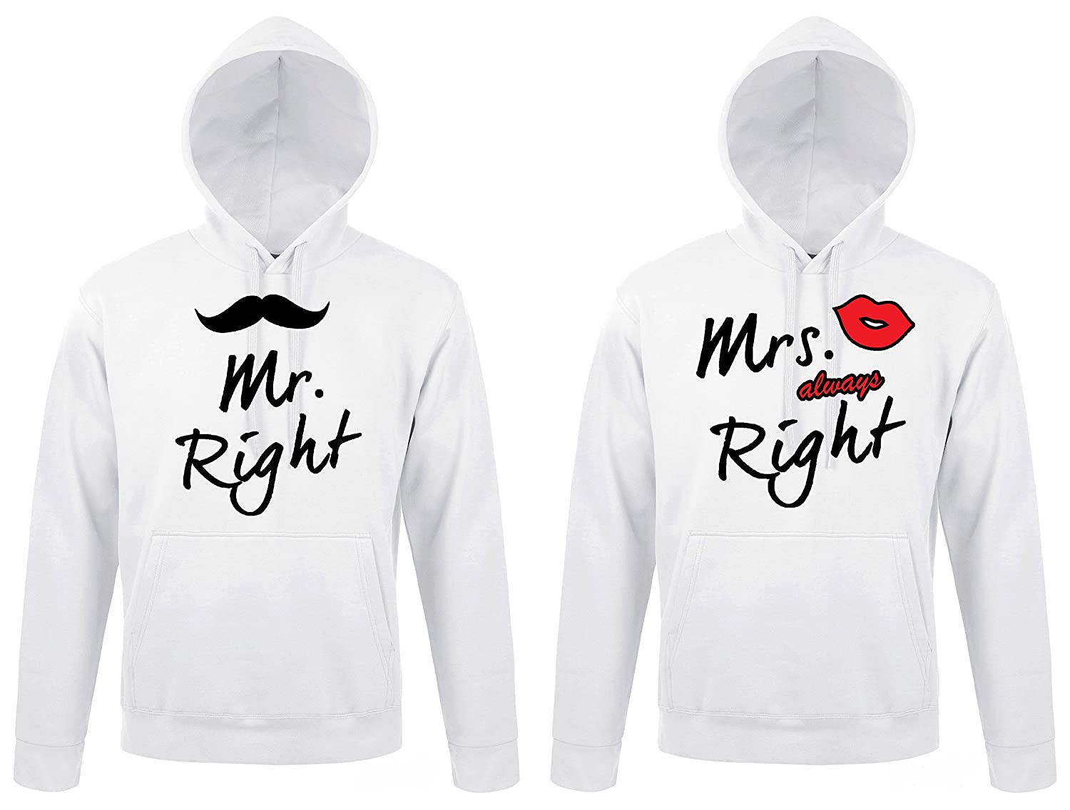 TRVPPY 2X Pareja Suéter Sudadera con Capucha/Modelo MR. Right & Mrs. Always Right/para Hombre & Mujer, en Muchos Colores Diferentes/Hooded Sweat Hoodie: ...