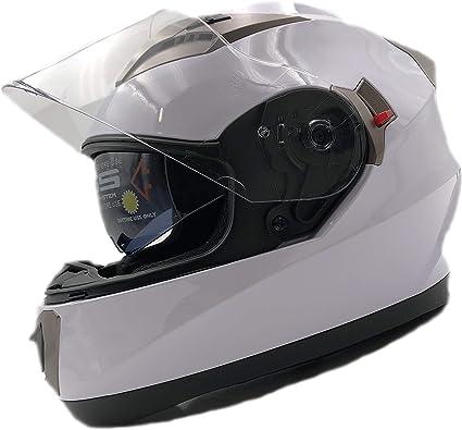 Amazon.es: Nat Hut Casco Moto Integral ECE Homologado. Casco Scooter para Hombre y Mujer. Casco Unisex Blanco de Motocicleta para Adultos con Doble Visera Anti-rasguños y Protección Rayos UV (XL 60-62cm, Blanco)