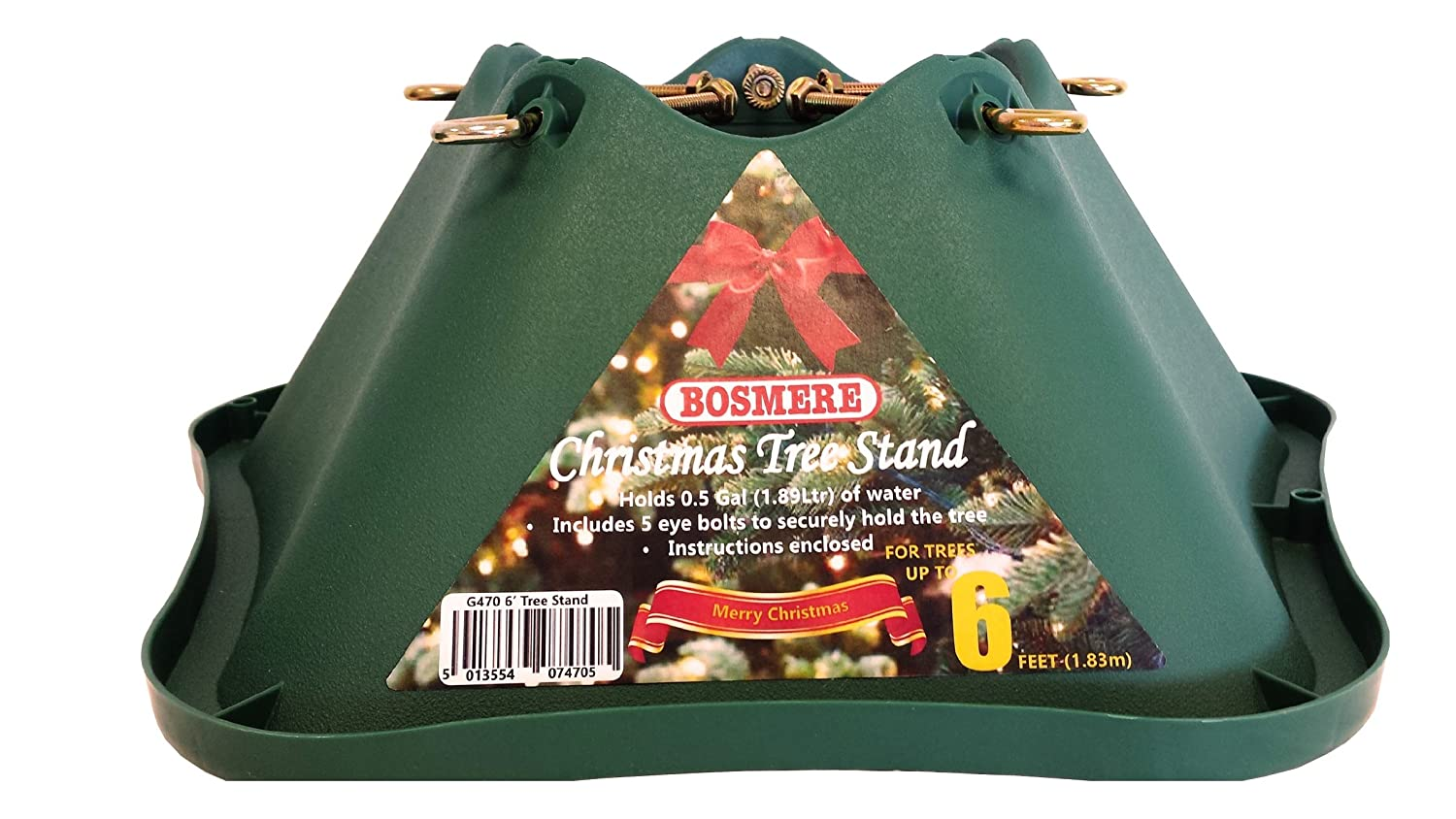 Bosmere 6-inch Plastic Christmas Tree Stand with 4.75-inch Trunk - Green G470