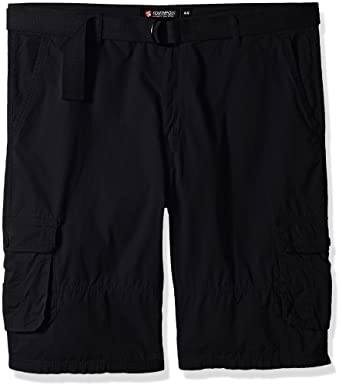 b264fa88fc Southpole Men's Big and Tall Belted Mini Canvas Cargo Shorts, Black, ...