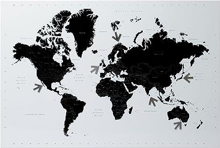 Pt Tn872 Tableau Memo Magnetique Carte Du Monde World Map Blanc Et Noir Avec Aimants Metal Amazon Fr Cuisine Maison