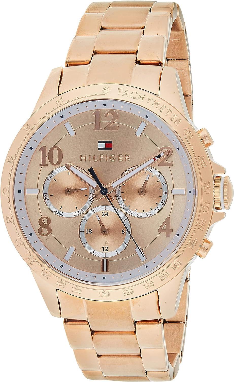 Reloj para mujer Tommy Hilfiger 1781642, mecanismo de cuarzo, diseño con varias esferas, correa de oro rosa.