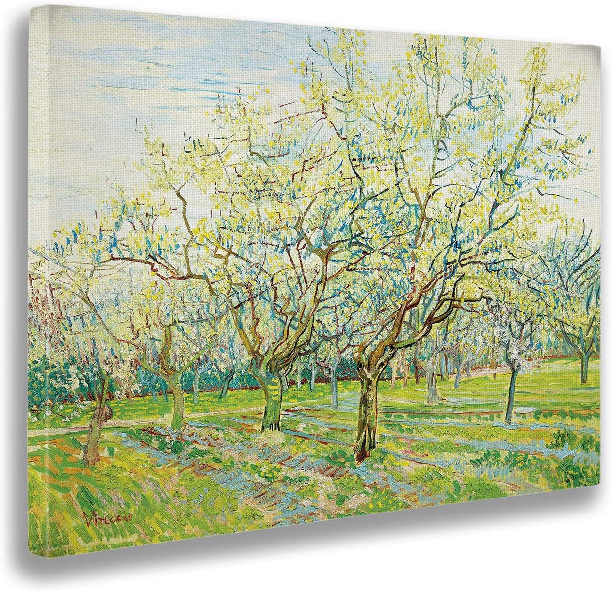 Giallobus - Cuadro - Vincent Van Gogh - El huerto Blanco - Estampado en Lienzo - Listo para Colgar - Varios tamaños 140x100 cm