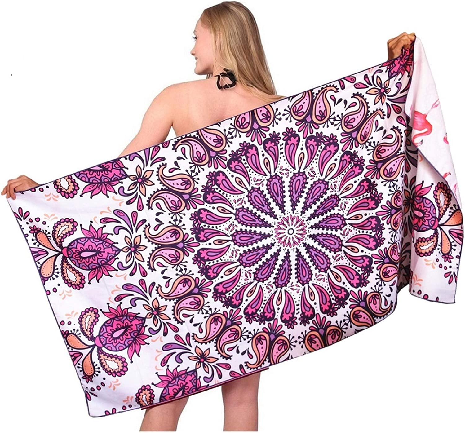 Mandala Oversized Microfiber Beach Towel-Quick Dry Super Absorbent Lightweight Thin Sand Free Towels