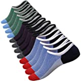 No Show Socks Men 6 Pairs Cotton Mens Non-Slip Low Cut Ankle Socks Size 6-12