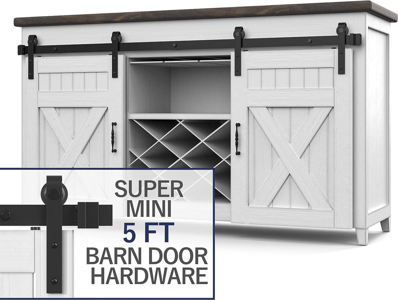 Hahaemall 8FT Interior Brushed Nickel Finshed Indoor Outdoor Stainless Steel Single Sliding Barn Door Hardware Roller Hanging Track Set