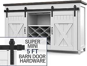 Hahaemall Heavy Duty Metal Steel Black Super Mini Sliding Barn Door Hardware Track Roller Kit Hanging TV Stand Cabinet System (5ft Double Kit)
