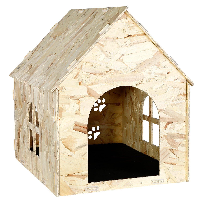 Bonlife Chien Chat Niche en Bois Maison pour intérieur et extérieur pour Animal Shelter Bella&Leo