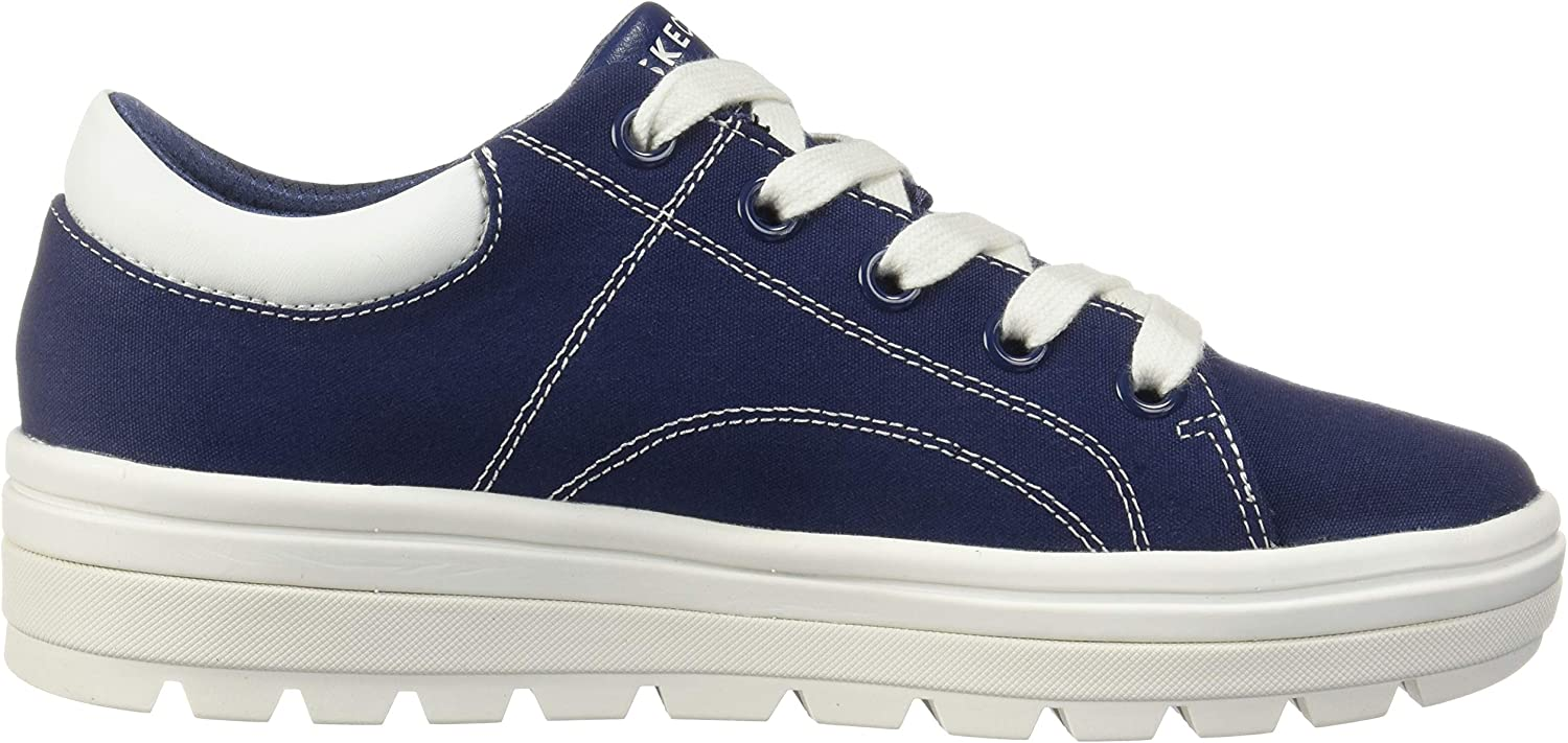 Skechers Street Cleat-Bring It Back Sneakers voor dames Blauw Navy Canvas Wit Duraleather Trim Nvy