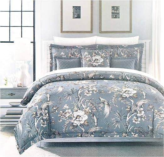 Amazon Com Nicole Miller Tropical Birds Floral King Duvet Comforter Cover Set Bird Blue Gray 3 Piece Home Kitchen