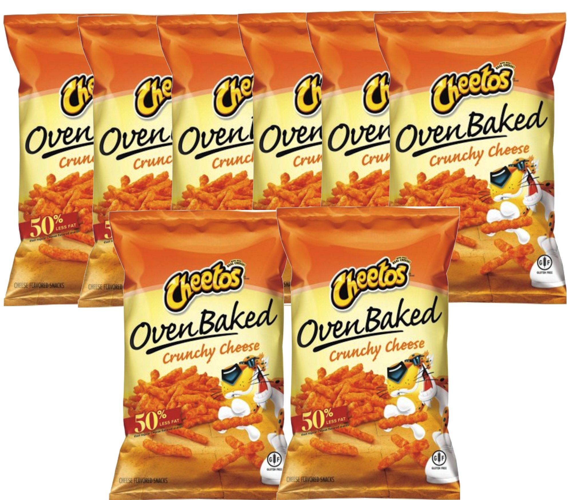 Cheetos Over Baked Crunchy Cheese Gluten Free Snacks 7.63 Oz Snack Care Package for College, Military, Sports (8)