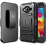 Samsung Galaxy J36 / J36V / J3 (2016) / J3 V / Sky / Sol / Amp Prime / Express Prime Case, NageBee [Heavy Duty] Armor Shock Proof [Swivel Belt Clip] Holster [Kickstand] Combo Rugged Case (Black)