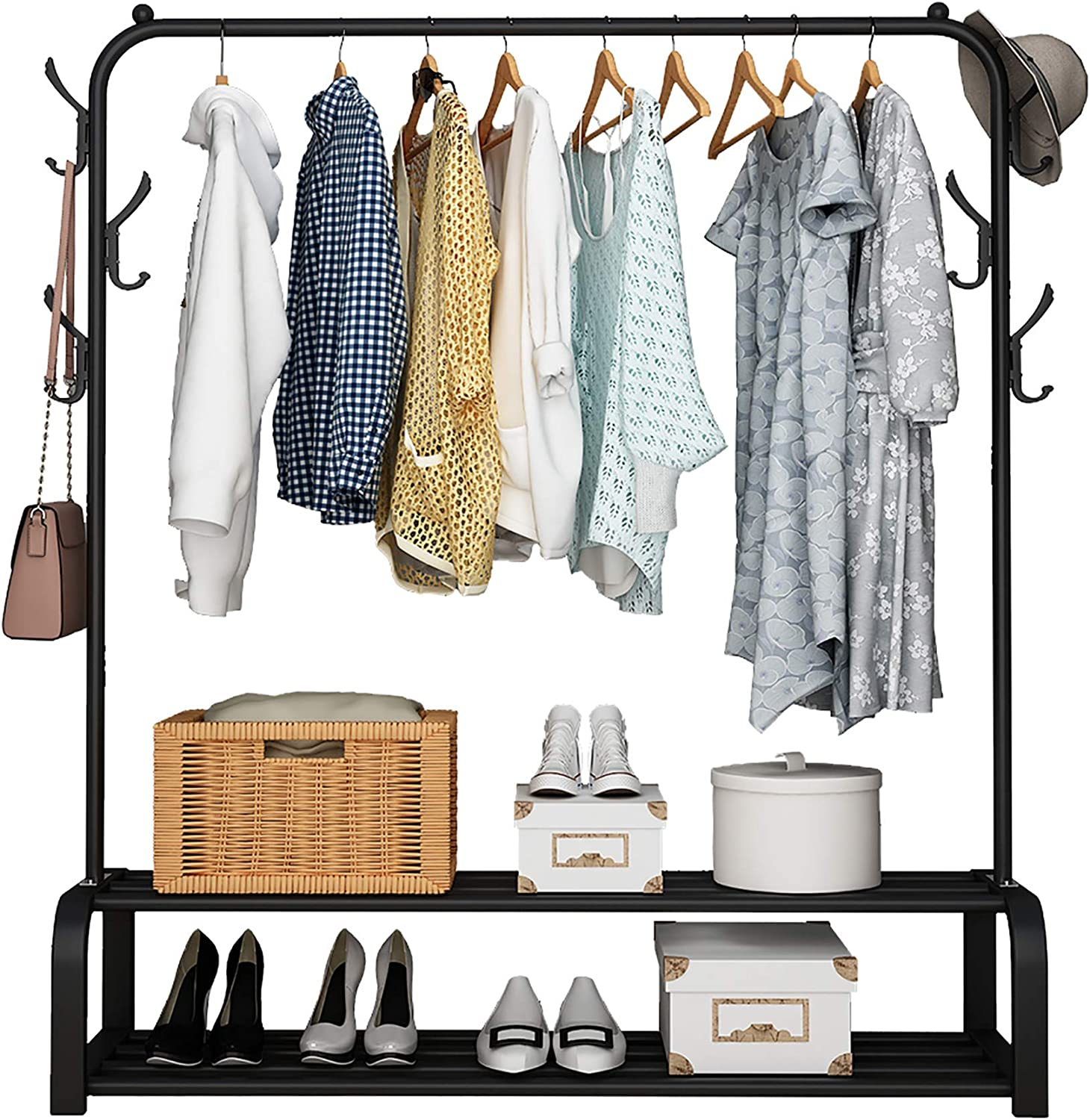UDEAR Garment Rack Free-standing Clothes Rack with Top Rod,Lower Storage and 6 Hooks,Black