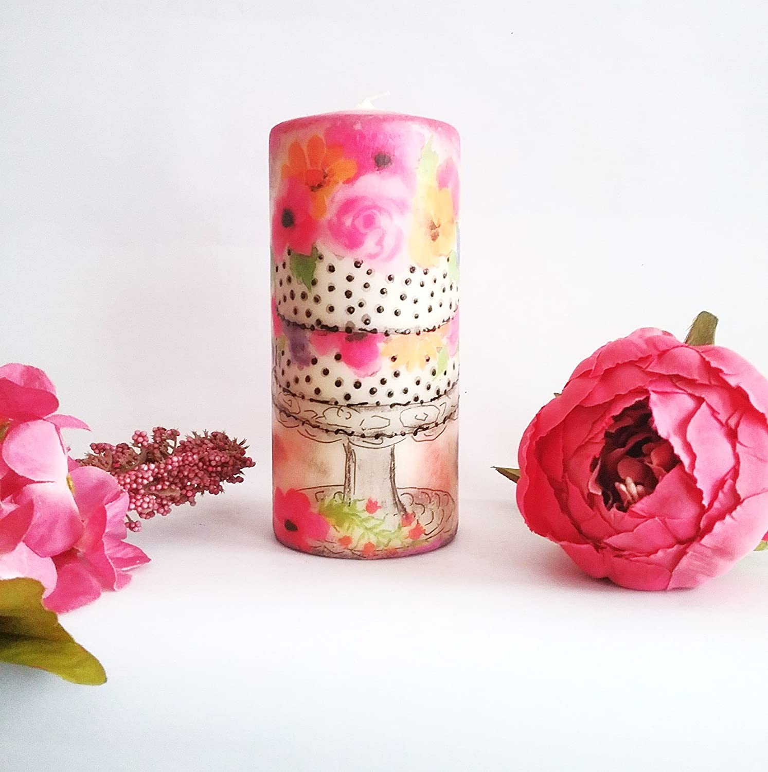 Birthday Gift Decoupage Candle Pillar Table Decor For Her Mothers Day Home Cake