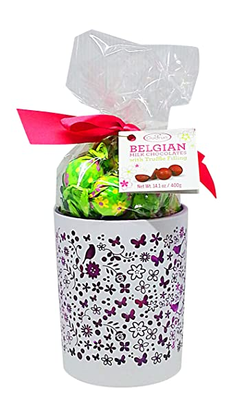 Amazon easter gift for mom belgian chocolate truffles in easter gift for mom belgian chocolate truffles in decorative glass vase pearl white negle Image collections