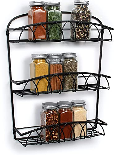 Takyl Home Wall Mount 3-Tier Spice Bottle Rack Organizer for Storing Spices, Sauce, Seasonings, Dressing, Condiments, Vitamins More, Great for Cupboards Cabinet, Pantry, Black