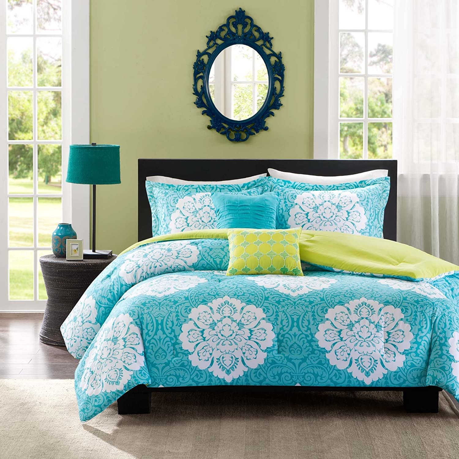 piece in california quicktriminternational make sets color king comforter pretty juliette set teal lime aqua lovely of com