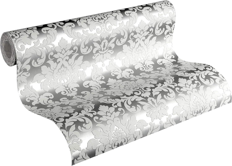 Vliestapete Mustertapeten Tapete Barock Ornament Klassisch Metallic Silber Weiß
