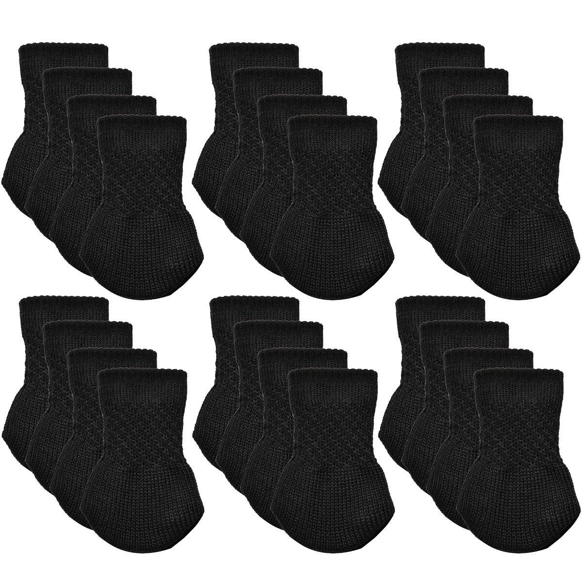 Chair Socks, Outgeek 24 Pack Knitted Furniture Feet Socks Chair Leg Floor Protectors (Black)