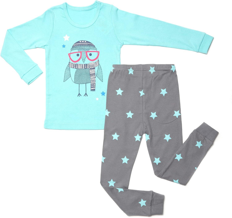 OllCHAENGi Little Boys Girls Kids Cotton Pajama Sleepwear Set Long Sleeve 18M-12Y Bear Gray