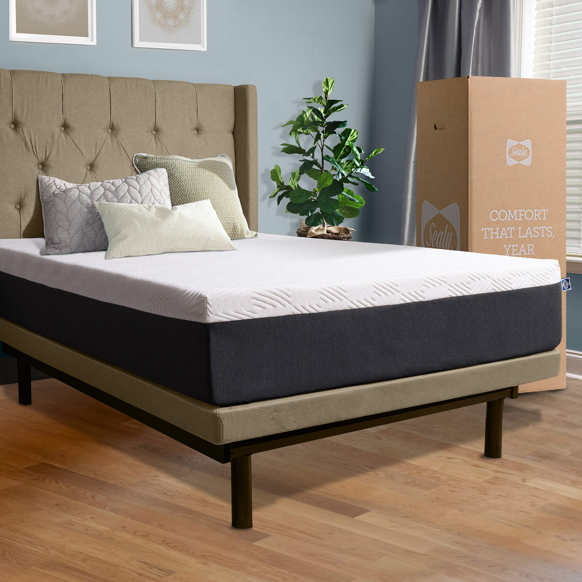 Sealy, 12-Inch, Hybrid Bed in a Box, Adaptive Comfort Layers, Medium Feel, Memory Foam Mattress, King, White by Sealy