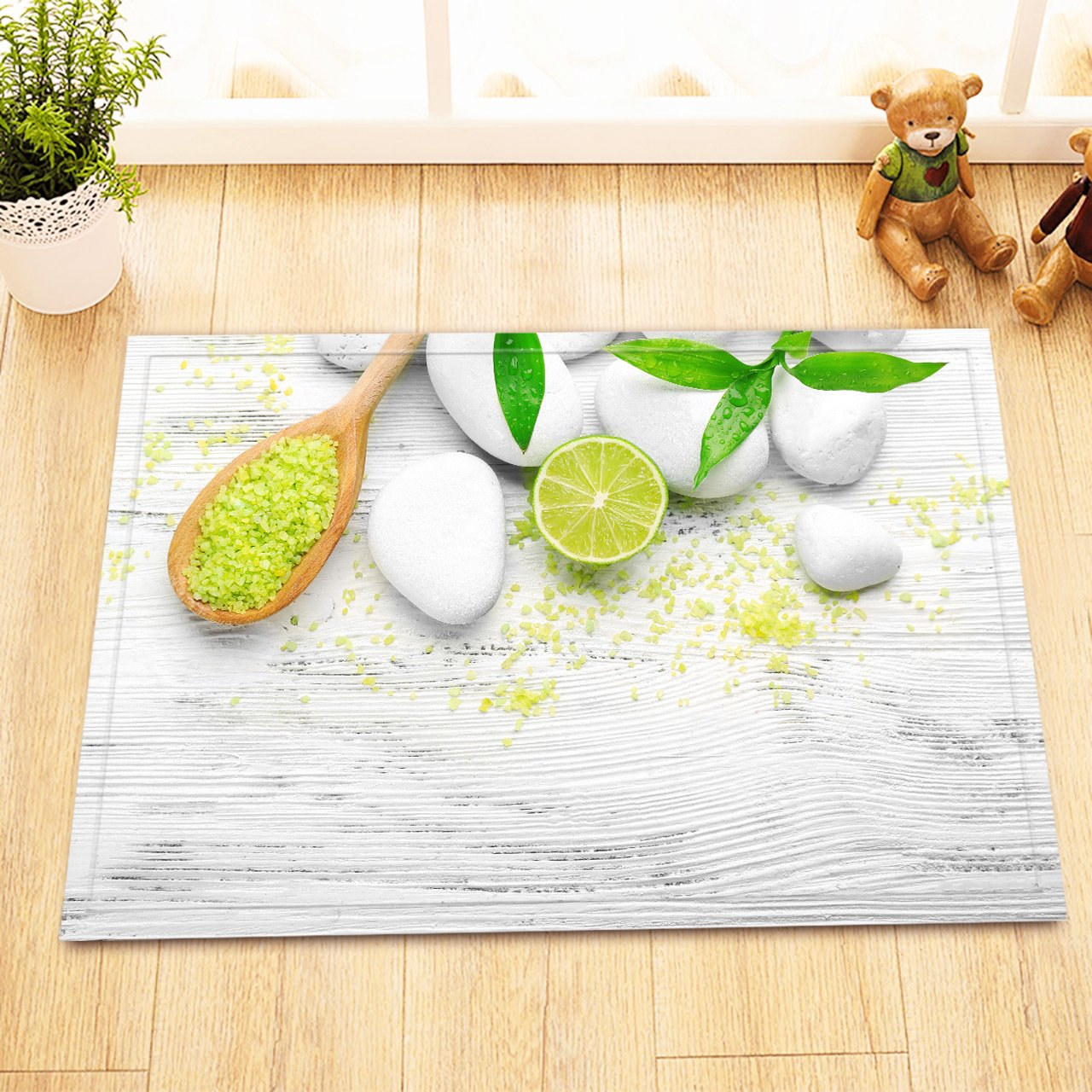 LB Massage Stones Lemon Bamboo Salt Rustic White Wood Panel Indoor Rugs Small, Machine Washable Flannel Surface Non Slip Backing, Spa Scene House Decor 15 x 23 Inches