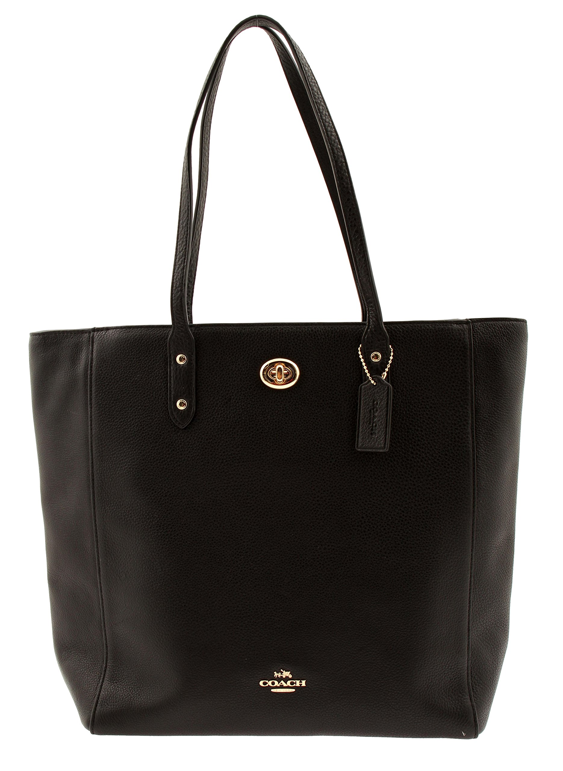 COACH Town Tote in Pebble Leather,  Black
