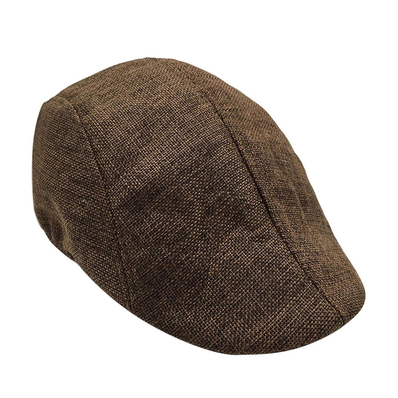 Zalanala Men Beret Flat Cap Irish Traditional Solid Cotton Newsboy Cap Three Panel Coffee