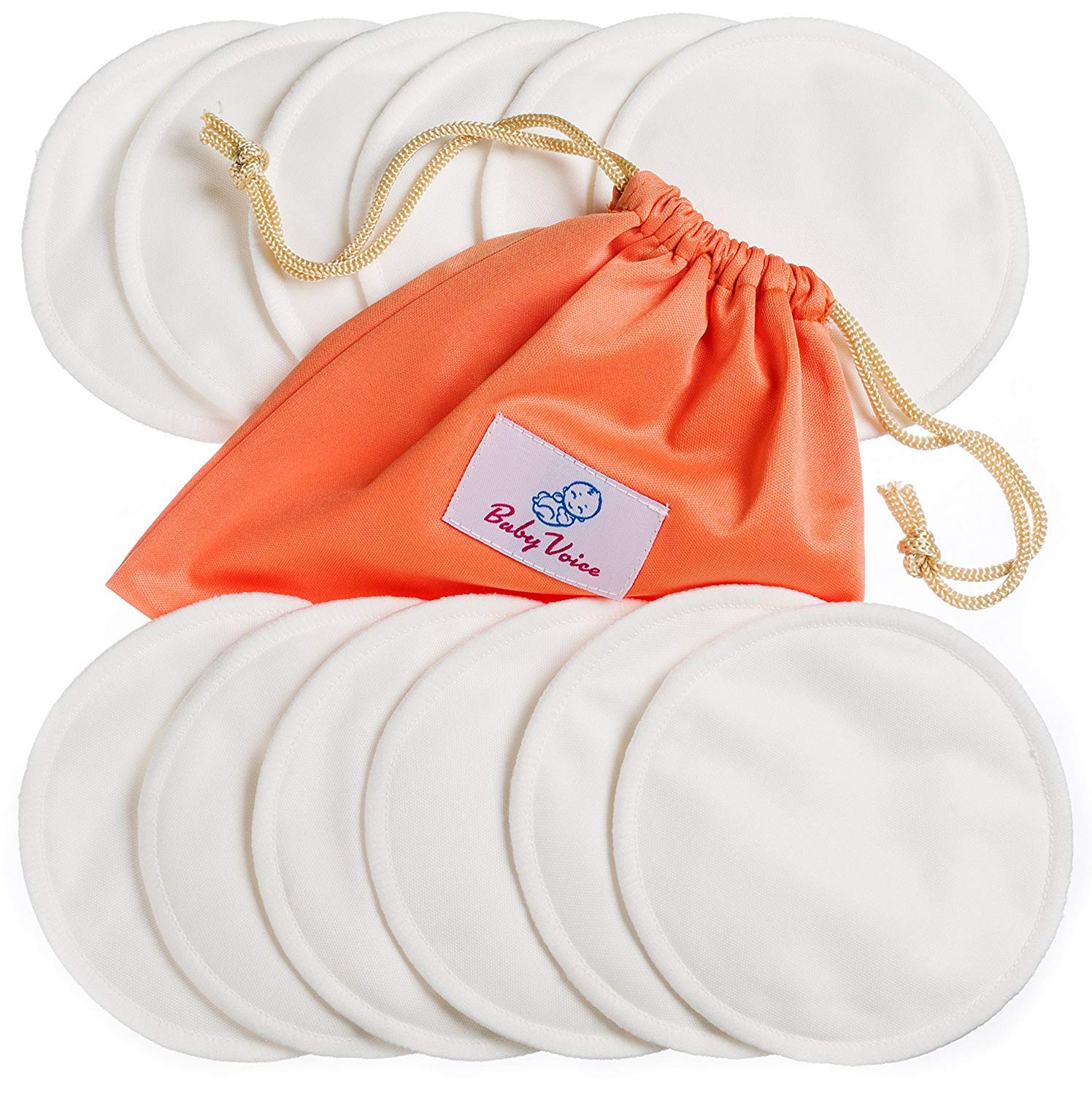 Washable Nursing Pads 12 Pack | Organic Bamboo | Laundry & Travel Bag | Softest Reusable Breast Pads by BabyVoice
