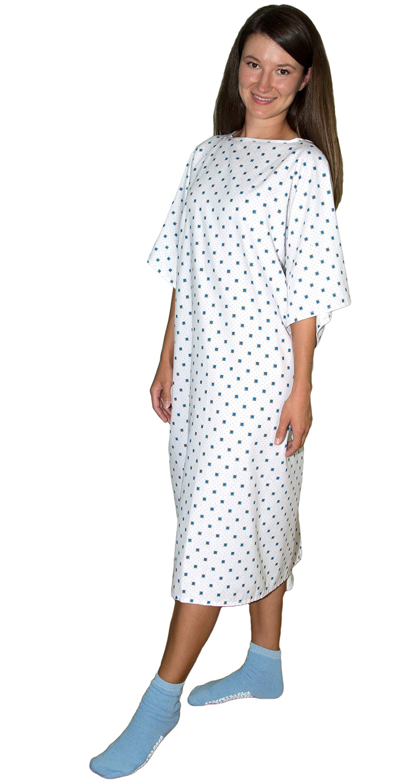 12 Pack - Deluxe Demure Print Hospital Gown/Hospital Patient Gown w/Back Ties