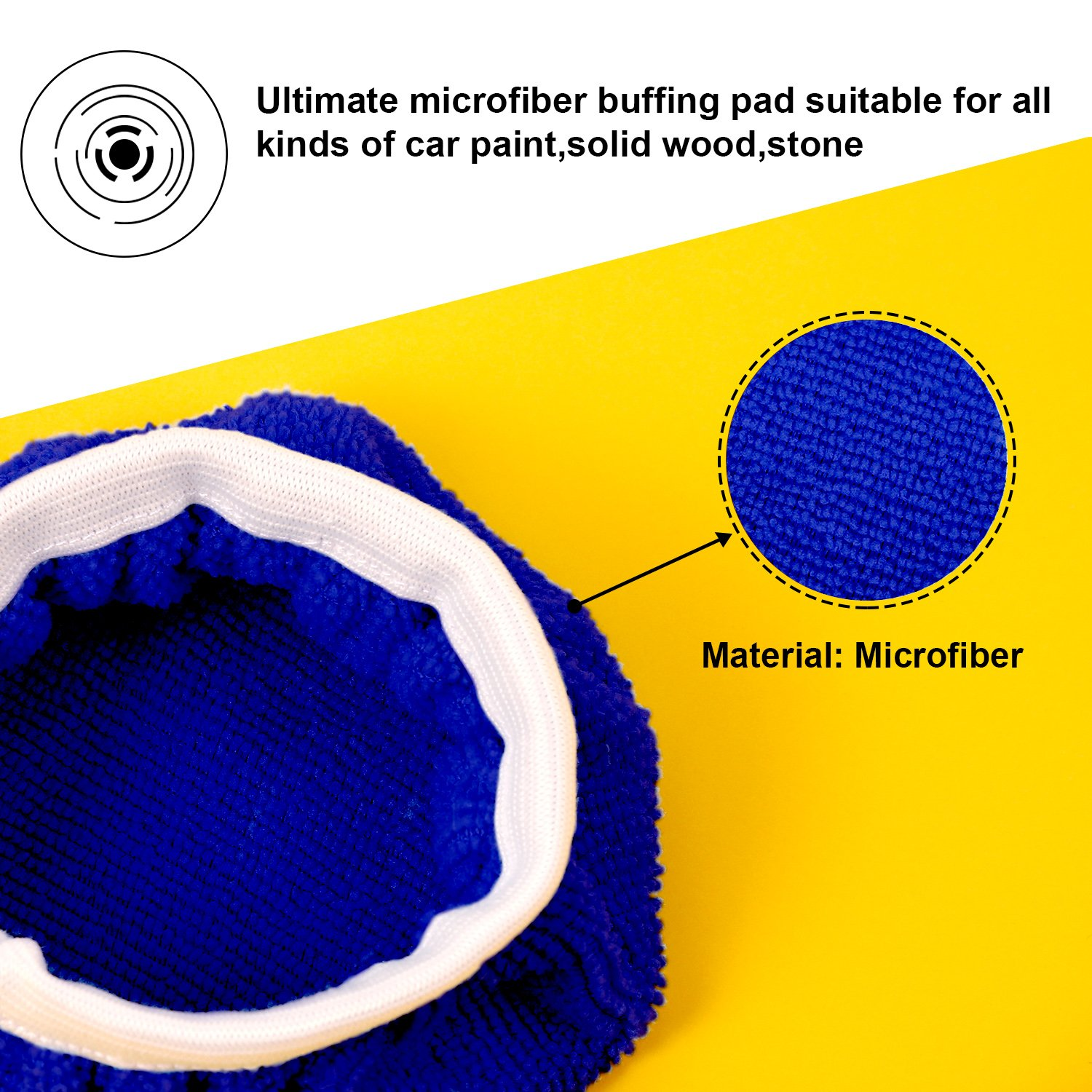 TecUnite 8 Pack Polishing Bonnet Buffing Pad Cover Soft Microfiber Car Polisher Pad Bonnet for Car Polisher (Dark Blue, 7 to 8 Inches) by TecUnite (Image #2)