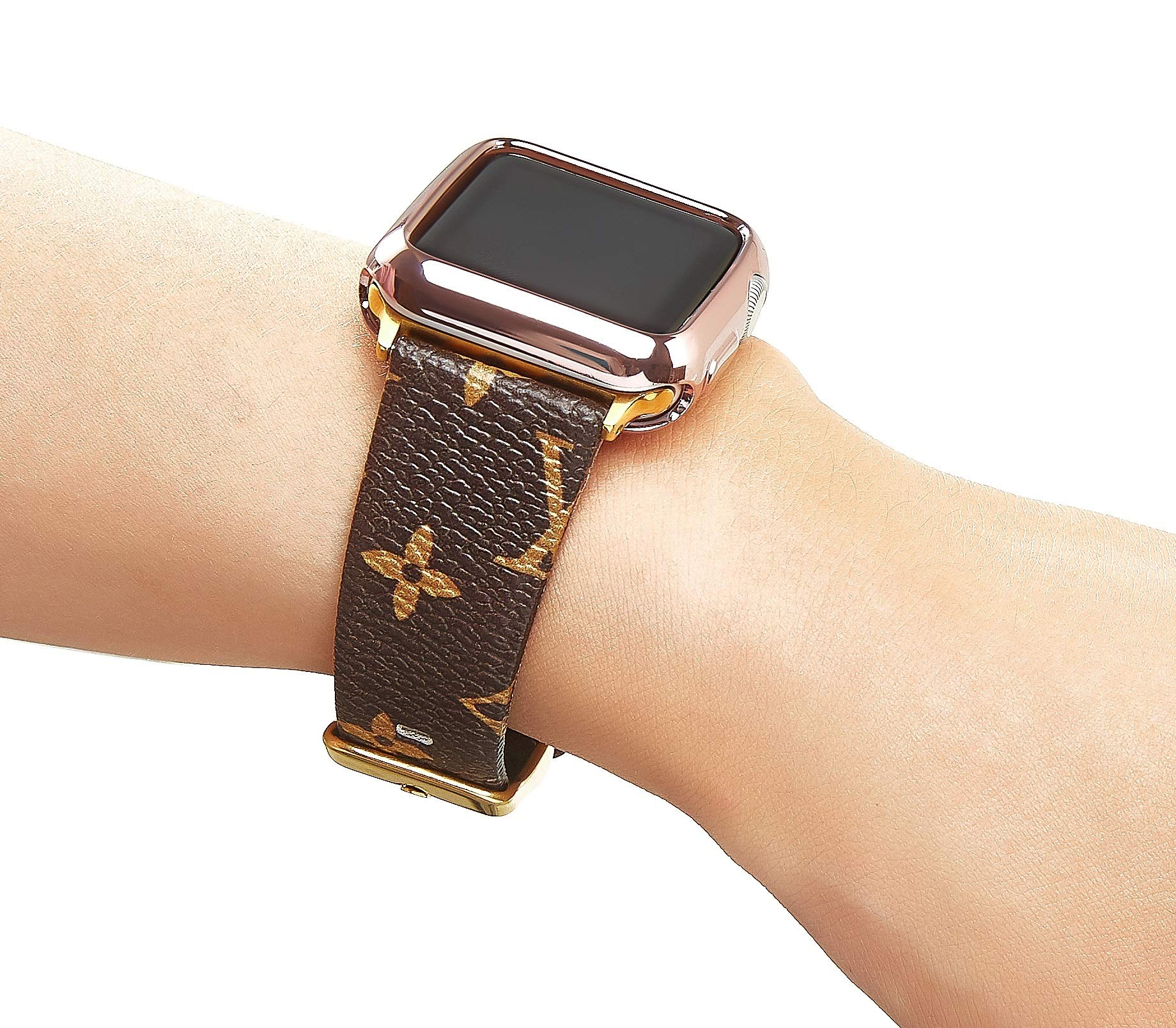 Leather Bands Compatible Apple Watch 38mm 40mm Series 4/3/2/1 Classic Rose Gold Buckle Replacement Strap Wristbands Stainless Steel Adapters (Brown 38mm) by GUVCYO