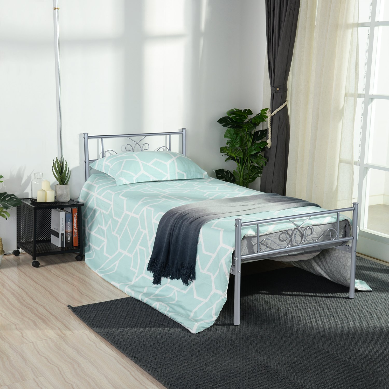 SimLife Stable Metal Frame Size 6 Legs Two Headboards Mattress Foundation Steel Platform Bed Box Spring Replacement (Twin, Silver), by SimLife