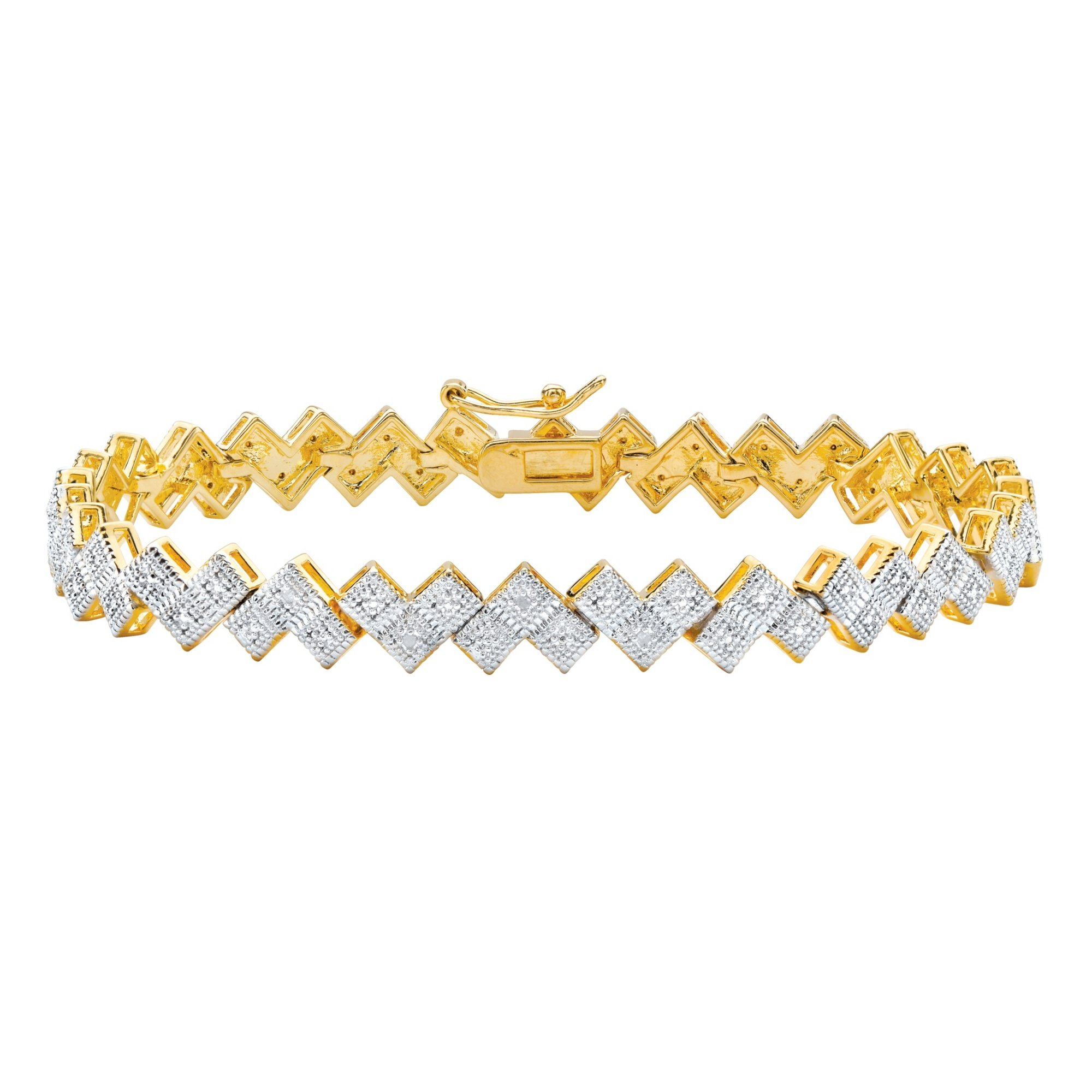Palm Beach Jewelry White Diamond Accent 14k Gold-Plated Two-Tone Pave-Style Bar-Link Bracelet 7.5''